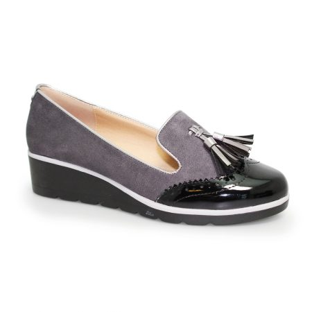 Lunar Karina Grey Wedge Loafer Shoes