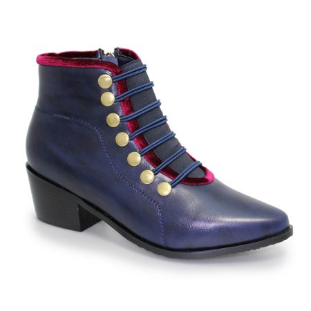 Lunar Napoleon Navy Military Ankle Boots