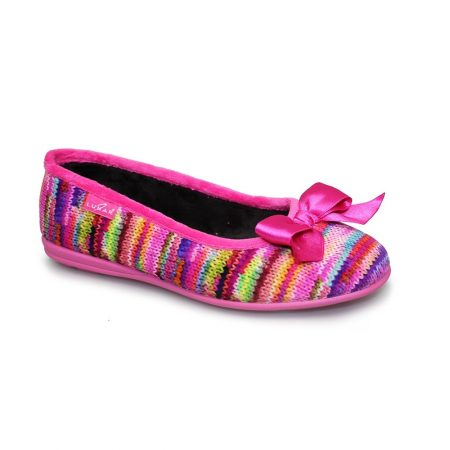 Lunar Twizzle Pink Knit Print Slippers