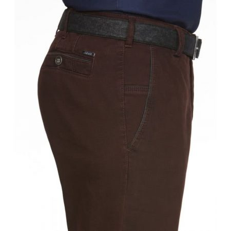 Meyer Burgundy cotton New York stretch trousers
