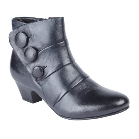 Lotus Stride Navy Leather Ankle Boots