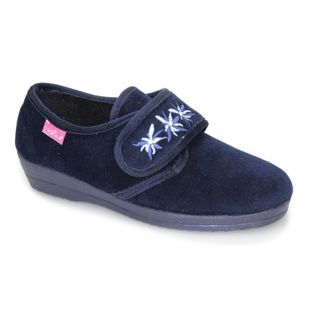 Lunar Paula Navy Velvet Wedge Slippers
