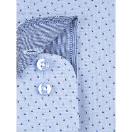 Remus Uomo Blue Long Sleeve Patterned Shirt