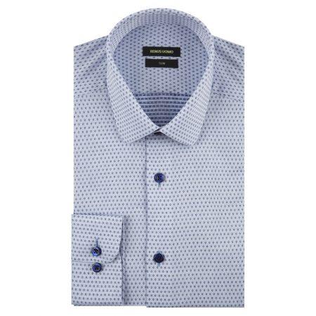 Remus Uomo slim fit blue patterned shirt
