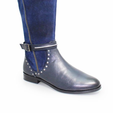 Lunar Andros Navy Leather Knee High Boots