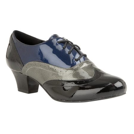Lotus Platte Black Multi Brogue Shoes