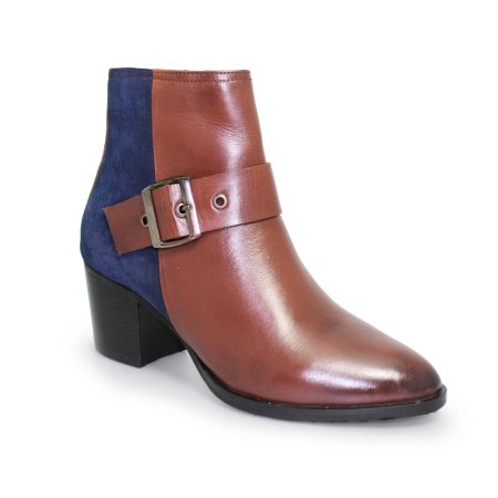 Lunar Cherish Tan Navy Leather Ankle Boots