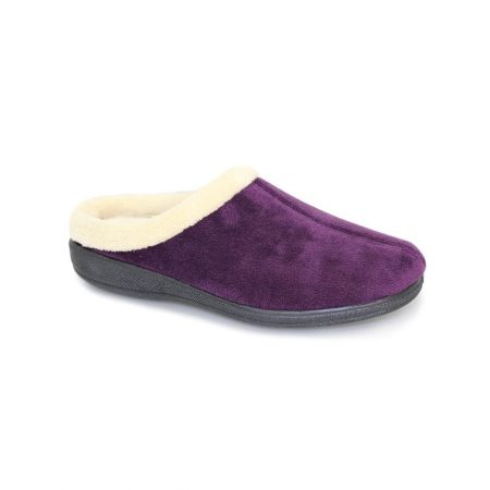 Lunar Doris Purple Micro Fibre Mule Slippers