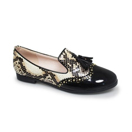 Lunar Francine Snake Print Brogue Flat Shoes