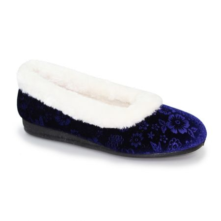 Lunar Lavinia Navy Floral Slippers