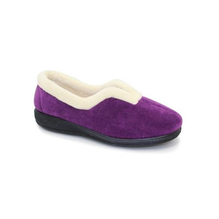 Lunar Corrine Purple Micro Fibre Slippers