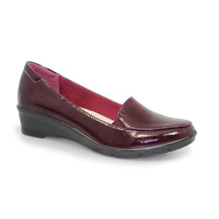 Lunar Elspeth Burgundy Patent Comfort Shoes