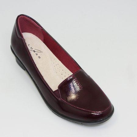Lunar Elspeth Burgundy Patent Comfort Shoes