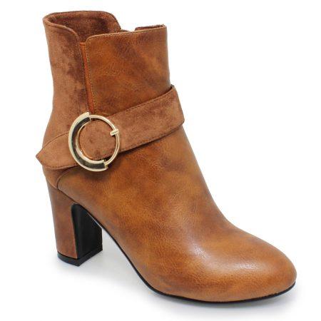Lunar Matilda Tan Heeled Ankle Boots