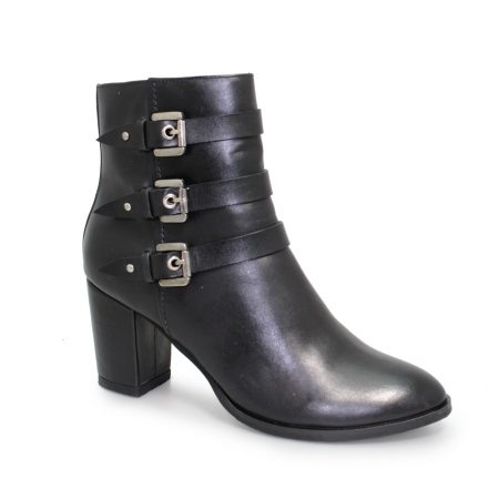 Lunar Mara Black Leather Ankle Boots