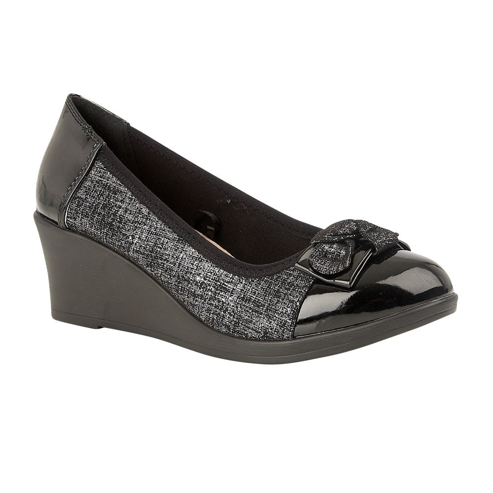 fb4489eb5b41 Lotus Zetta Pewter Glitter Wedge Shoes - Brooks Shops