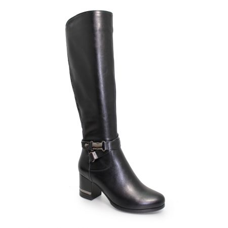 Lunar Viva Black Heeled Knee High Boots
