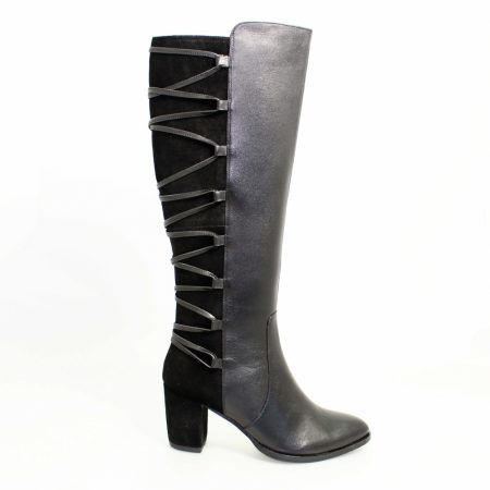 Lunar Whisper Black Leather Knee High Boots