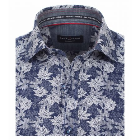Casa Moda Blue Leaf Shirt