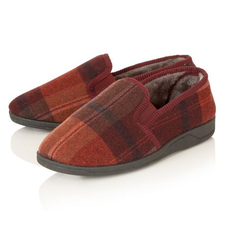Lotus Nash Burgundy Check Full Slippers