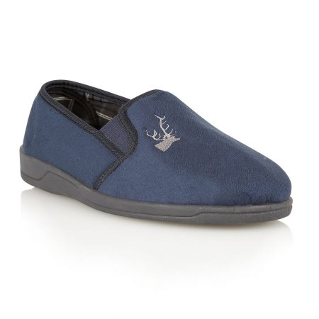 Lotus Jack Navy Micro Fibre Full Slippers