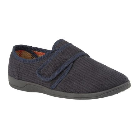 Lotus McGrath Navy Cord Velcro Full Slippers