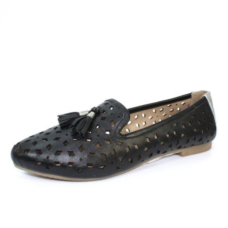 Lunar Alma Black Leather Flat Shoes