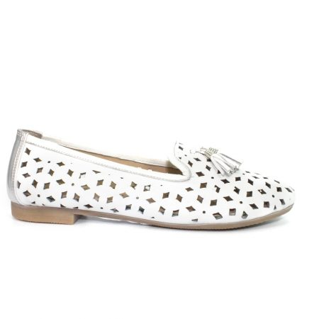 Lunar Alma White Leather Flat Shoes
