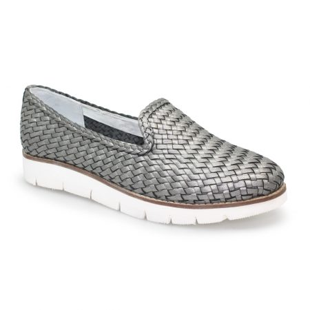 Lunar Cipriana Pewter Leather Loafers