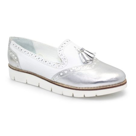 Lunar Tallis White Leather Loafers