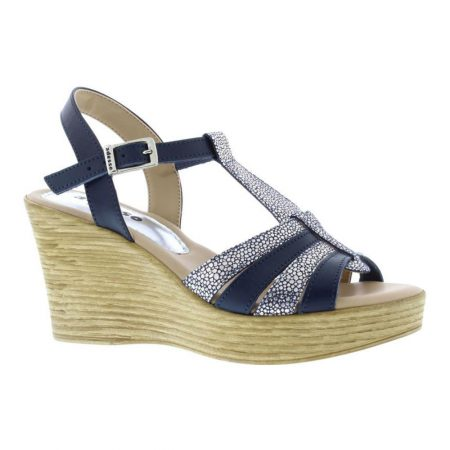 Adesso Sophie Navy Leather Wedges