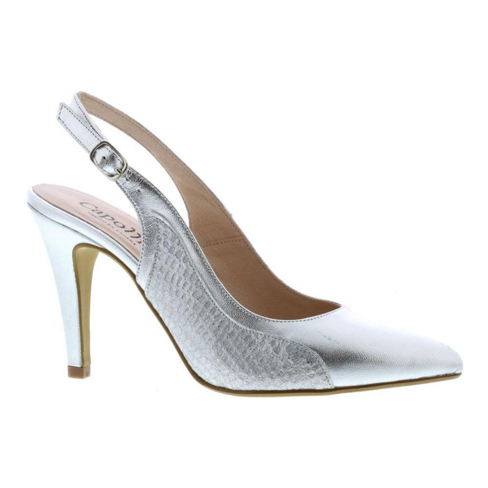 d26cf2ea7a Capollini Luanne Silver Leather Heels - Brooks Shops