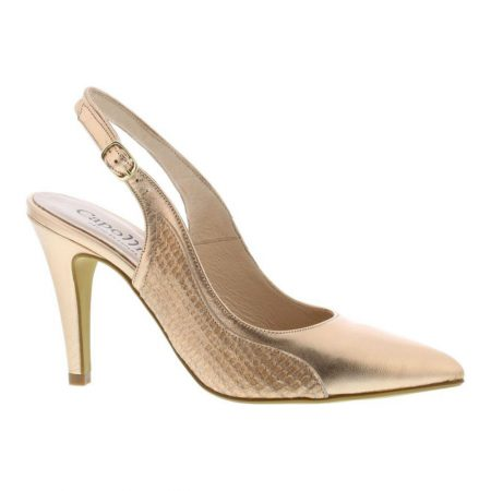 Capollini Luanne Rose Gold Leather Heels