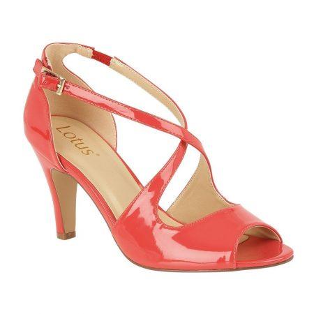 Lotus Rosalie Coral Patent Heels