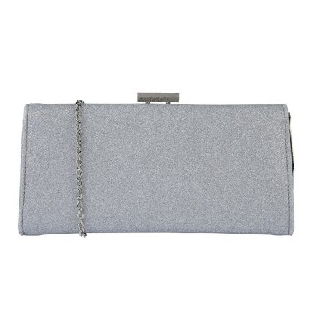 Lotus Vibe Silver Glitter Clutch