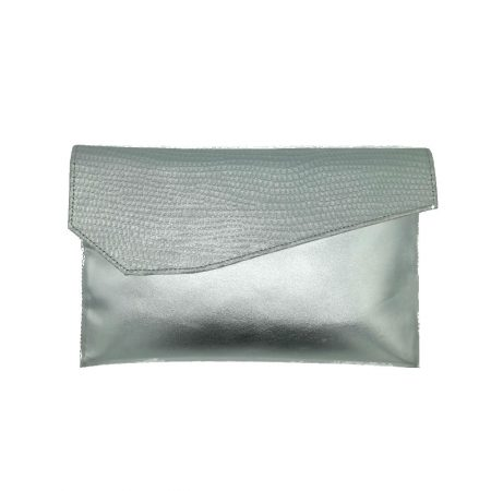 Capollini Luanne Silver Leather Clutch