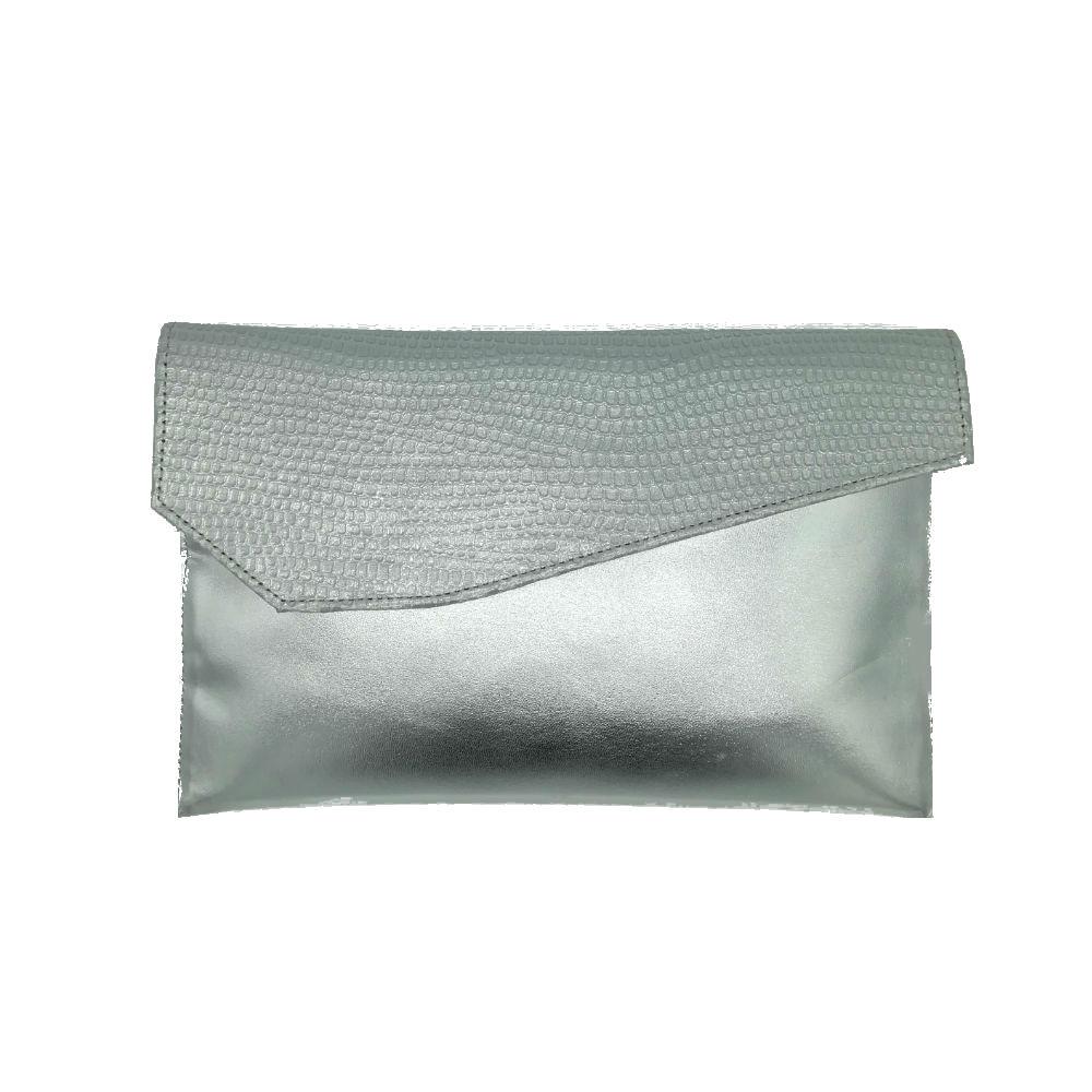 adb8700092 Capollini Luanne Silver Leather Clutch - Brooks Shops