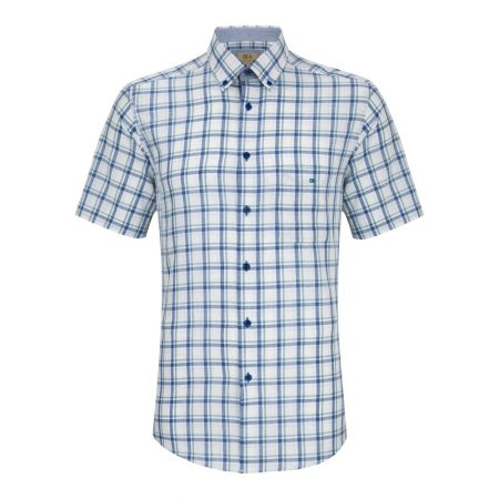 Drifter blue and green check short sleeve shirt