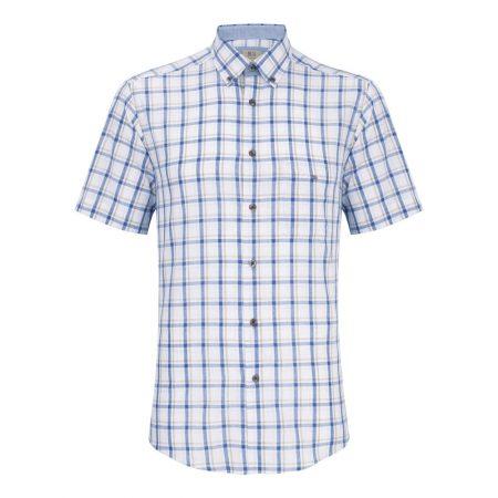 Drifter blue and tan check short sleeve shirt