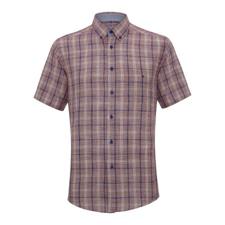 Drifter raspberry coloured check short sleeve shirt .