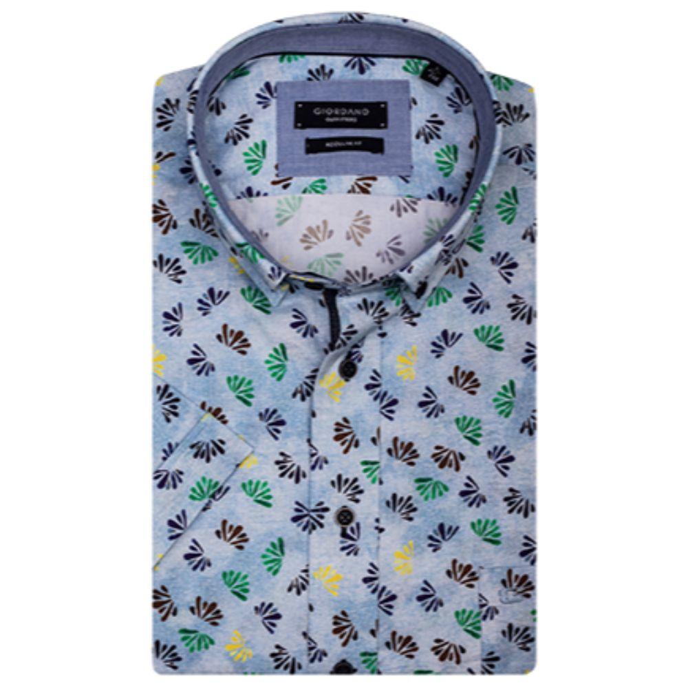 2521b36be Giordano Blue Print Short Sleeve Shirt - Brooks Shops - Menswear