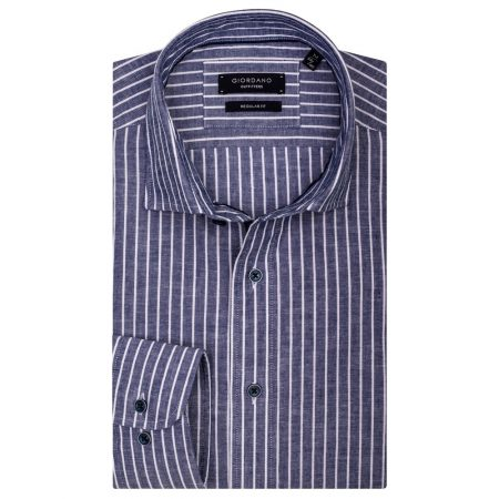 Giordano linen mix Blue Striped shirt