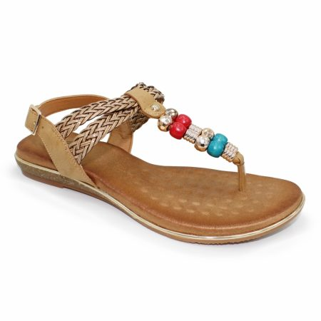 Lunar Arlo Tan Flat Sandals