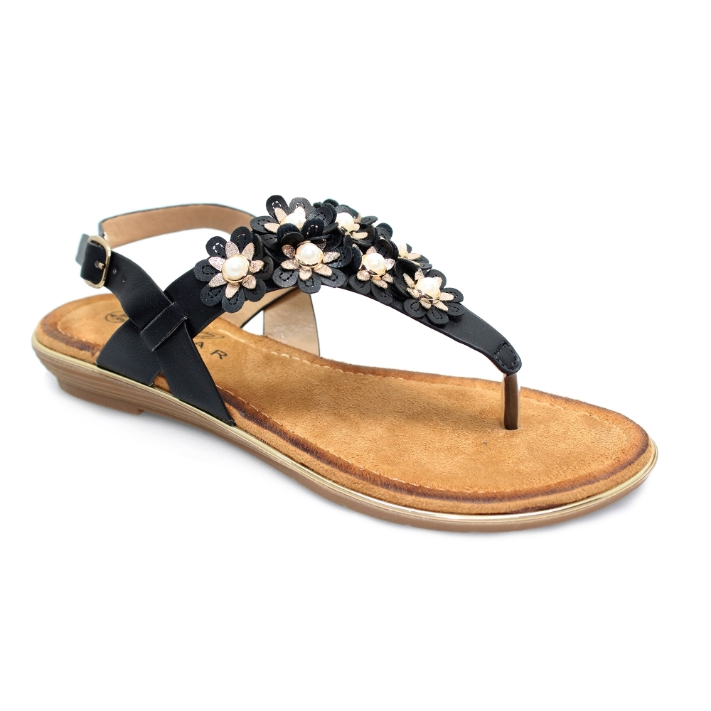 9ddd398ae Lunar Kinsley Black Flat Sandals - Brooks Shops