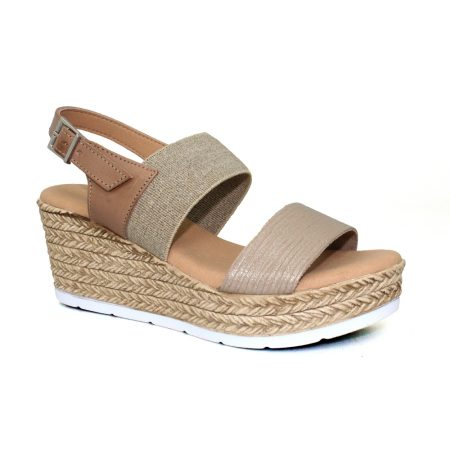 Lunar Lisbon Taupe Wedge Sandals