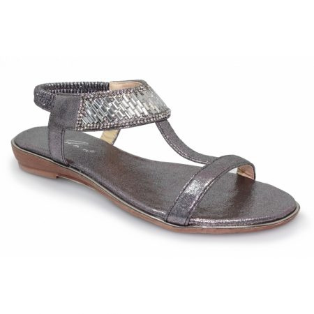 Lunar Donatella Pewter Gem Sandals