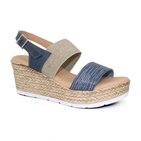 Lunar Lisbon Navy Wedge Sandals