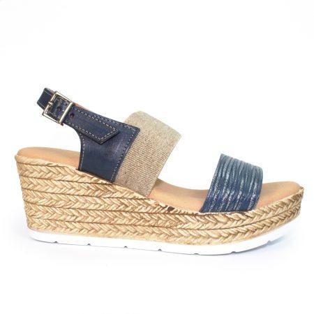 Lunar Lisbon Navy Wedge Sandals