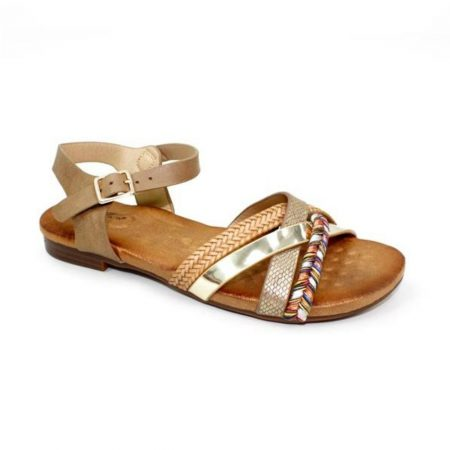 Lunar Louisa Tan Flat Sandals