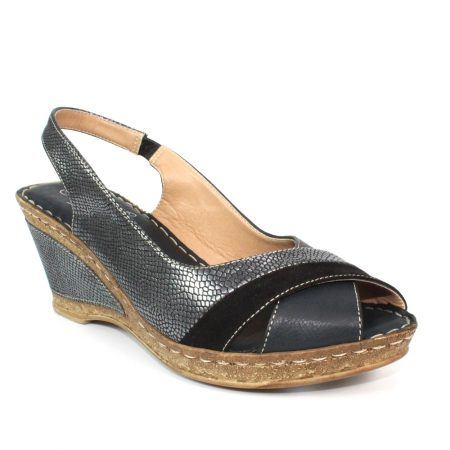 Lunar Nambia Black Wedge Sandals